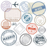 Travel stamps or adventure symbols set Spain theme, vector illus Stock Photography