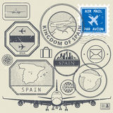 Travel stamps or adventure symbols set, Spain theme Royalty Free Stock Photos