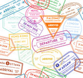 Travel Stamps Background Pattern. Vector royalty free illustration