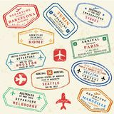 Travel stamps stock photos