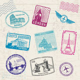 Travel stamps with Europe countries landmarks. Vector collection Royalty Free Stock Images