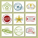 Travel stamps fictitious international airport symbols grunge passport or postage sign cards vector illustration Royalty Free Stock Photo