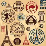 Travel stamps. Travel icons set. Travel labels collection