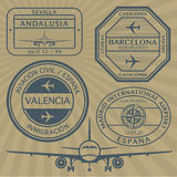 Travel stamps set Stock Image
