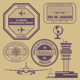 Travel stamps set Royalty Free Stock Image