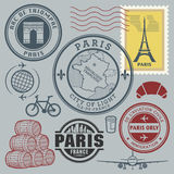 Travel stamps set Royalty Free Stock Photos