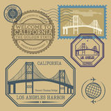 Travel stamps set Royalty Free Stock Images