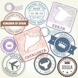 Travel stamps set Barcelona, Catalonia and Spain Stock Photography