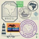 Travel stamps set, Brazil Royalty Free Stock Photos
