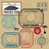 Travel stamps set, Canary Islands Royalty Free Stock Photos
