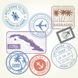 Travel stamps set Caribbean Sea. Theme Royalty Free Stock Images