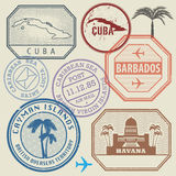 Travel stamps set Caribbean Sea theme Royalty Free Stock Image