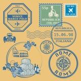 Travel stamps set Stock Photo