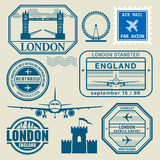 Travel stamps set Stock Images