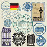 Travel stamps set Stock Photography