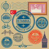 Travel stamps set Stock Photos