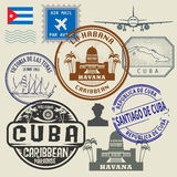 Travel stamps set Royalty Free Stock Image