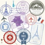 Travel stamps set - France and Paris journey symbols Royalty Free Stock Photo