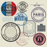 Travel stamps set, France theme Stock Images