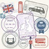 Travel stamps set - Great Britain and England Stock Images