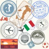 Travel stamps set - Italy and Rome journey symbols. Travel stamps set - Italy and Rome, Europe journey symbols Stock Image