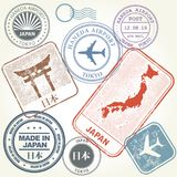 Travel stamps set Japan and Tokyo theme. With inscription Japan on Japanese  language Royalty Free Stock Photos