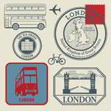 Travel stamps set, London Royalty Free Stock Images