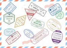 Travel Stamps Set on Mail Envelopes Background. Vector. Travel Stamps Set on Mail Envelopes Background Vintage Design Style Web. Vector illustration Royalty Free Stock Images