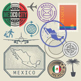 Travel stamps set, Mexico Stock Images