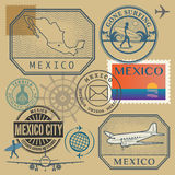 Travel stamps set, Mexico Royalty Free Stock Photography
