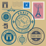 Travel stamps set, Paris theme. Color illustration Royalty Free Stock Photos
