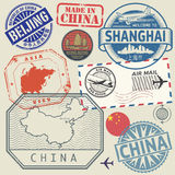 Travel stamps set with the text China, Shanghai, Beijing Stock Photos