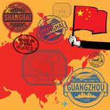 Travel stamps set with the text China Royalty Free Stock Photos