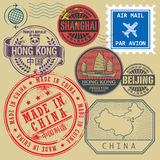 Travel stamps set with the text Chine, Shanghai, Beijing Stock Photo