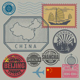 Travel stamps set Royalty Free Stock Photo