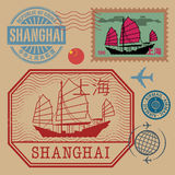 Travel stamps set with the text Shanghai Royalty Free Stock Images