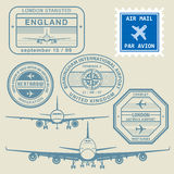 Travel stamps set Royalty Free Stock Photography