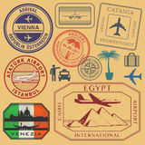 Travel stamps or symbols set airport theme Stock Images