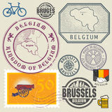 Travel stamps or symbols set, Belgium, Brussels theme Royalty Free Stock Images