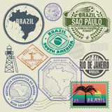 Travel stamps or symbols set, Brazil, South America theme. Vector illustration Stock Photography