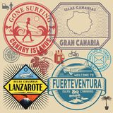 Travel stamps or symbols set Canary Islands. Theme, vector illustration Royalty Free Stock Photos