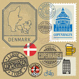 Travel stamps or symbols set, Denmark, Copenhagen theme. Vector illustration Royalty Free Stock Photography