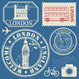 Travel stamps or symbols set, England and London theme Royalty Free Stock Image