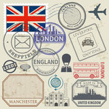 Travel stamps or symbols set England, London and United Kingdom Royalty Free Stock Photo
