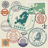 Travel stamps or symbols set, Europe destinations theme Royalty Free Stock Photography