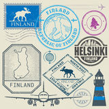 Travel stamps or symbols set, Finland, Helsinki theme Stock Photography