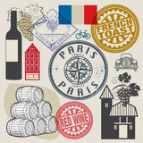 Travel stamps or symbols set, France theme. Vector illustration Royalty Free Stock Image