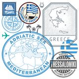 Travel stamps or symbols set Greece. Travel or airport stamps or symbols set Greece theme, vector illustration Stock Image