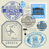 Travel stamps or symbols set, Greece theme. Vector illustration Royalty Free Stock Photos