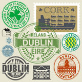 Travel stamps or symbols set, Ireland, Dublin theme. Vector illustration Royalty Free Stock Photo